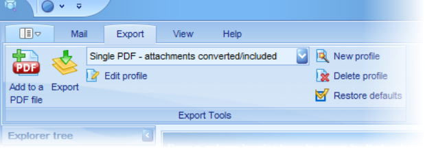 Screen shot of the location of the Export Profiles drop down box.