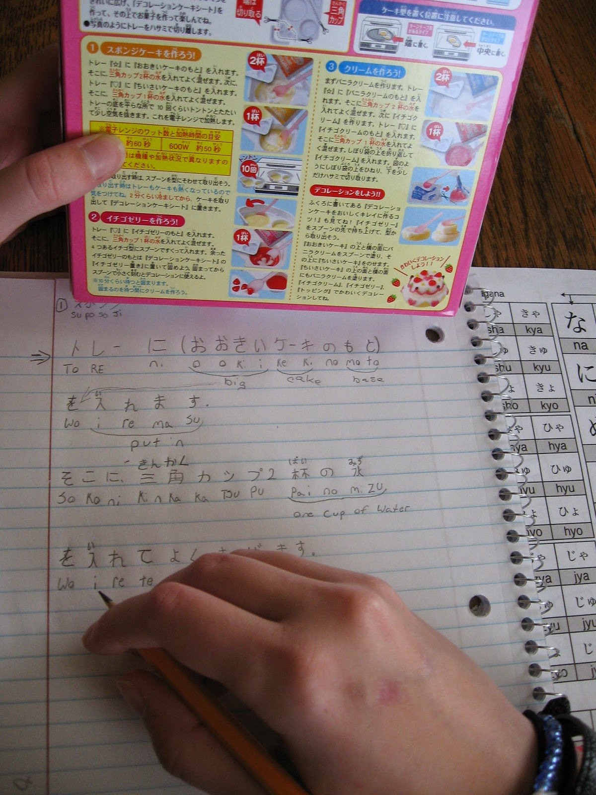 Almost unschoolers poppin cookin fun with japanese i printed off hiragana and katakana japanese alphabet charts so the girls could write down the english alphabet phonetic spelling of each symbol biocorpaavc Gallery