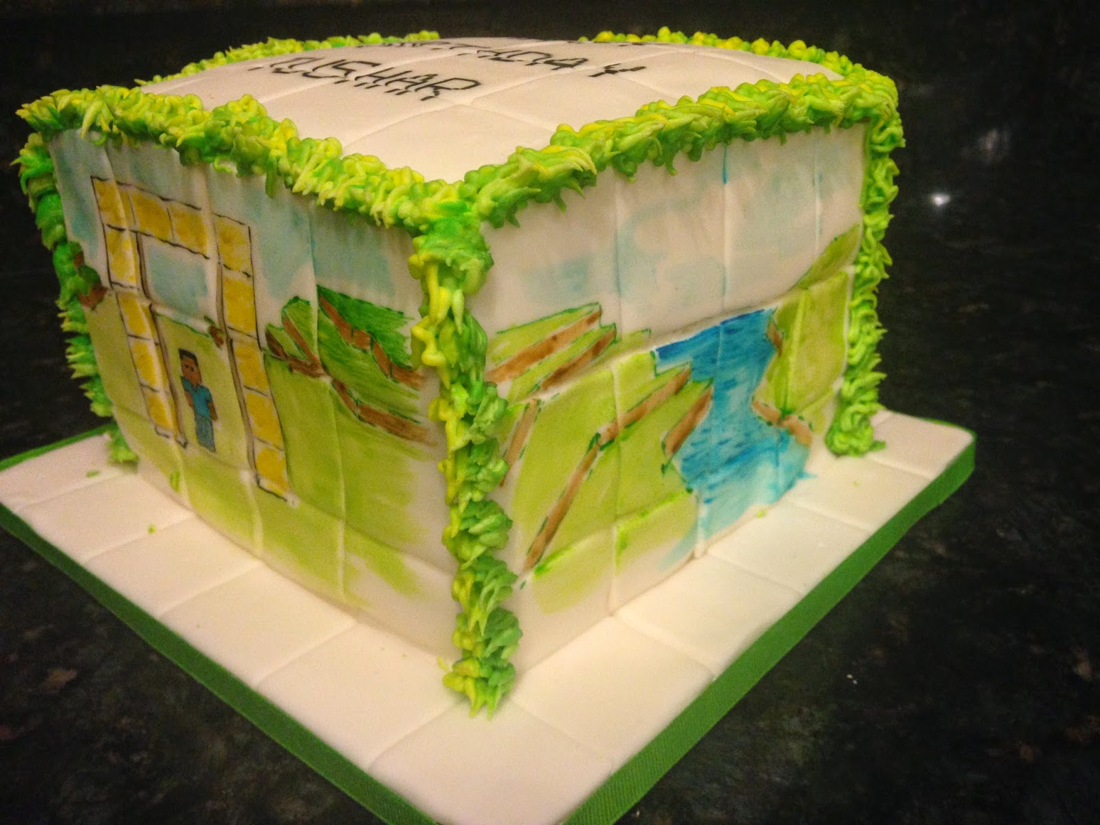 Painted Minecraft with Grass Blocks | I Do Cakes