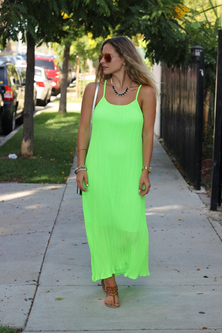 neon green pleated maxi dress
