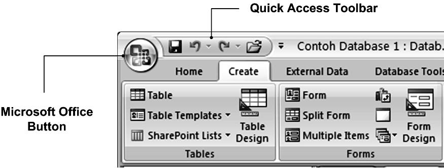 Microsoft Office Button, Quick Access Toolbar, dan Dialog Box