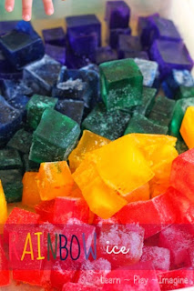 Rainbow ice sensory bin
