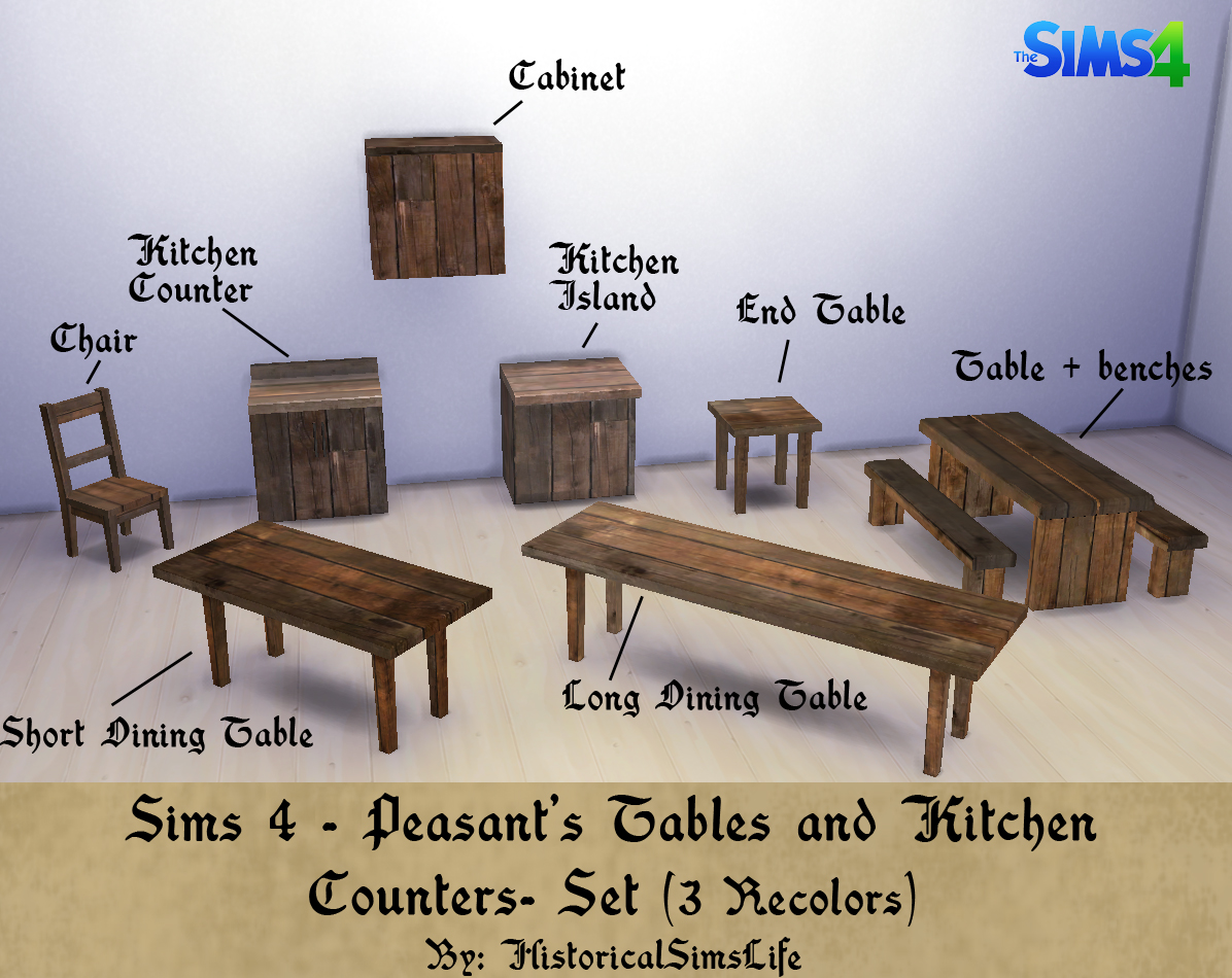 TS4: Peasant's Tables and Kitchen Counters Set | History Lover's Sims ...
