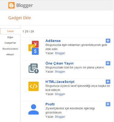 yeni gadget bloggerr