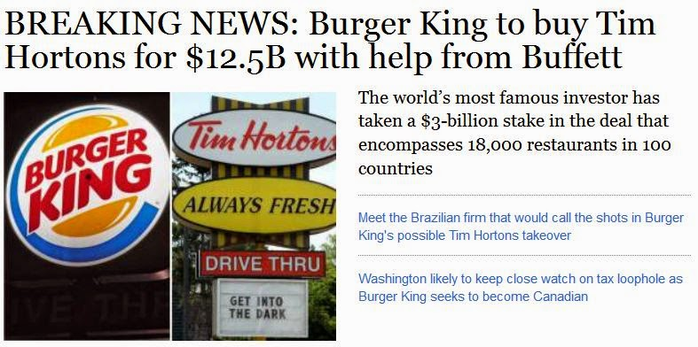 Burger King Buys Tim Hortons