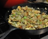 Finish cooking the stuffing in the skillet.