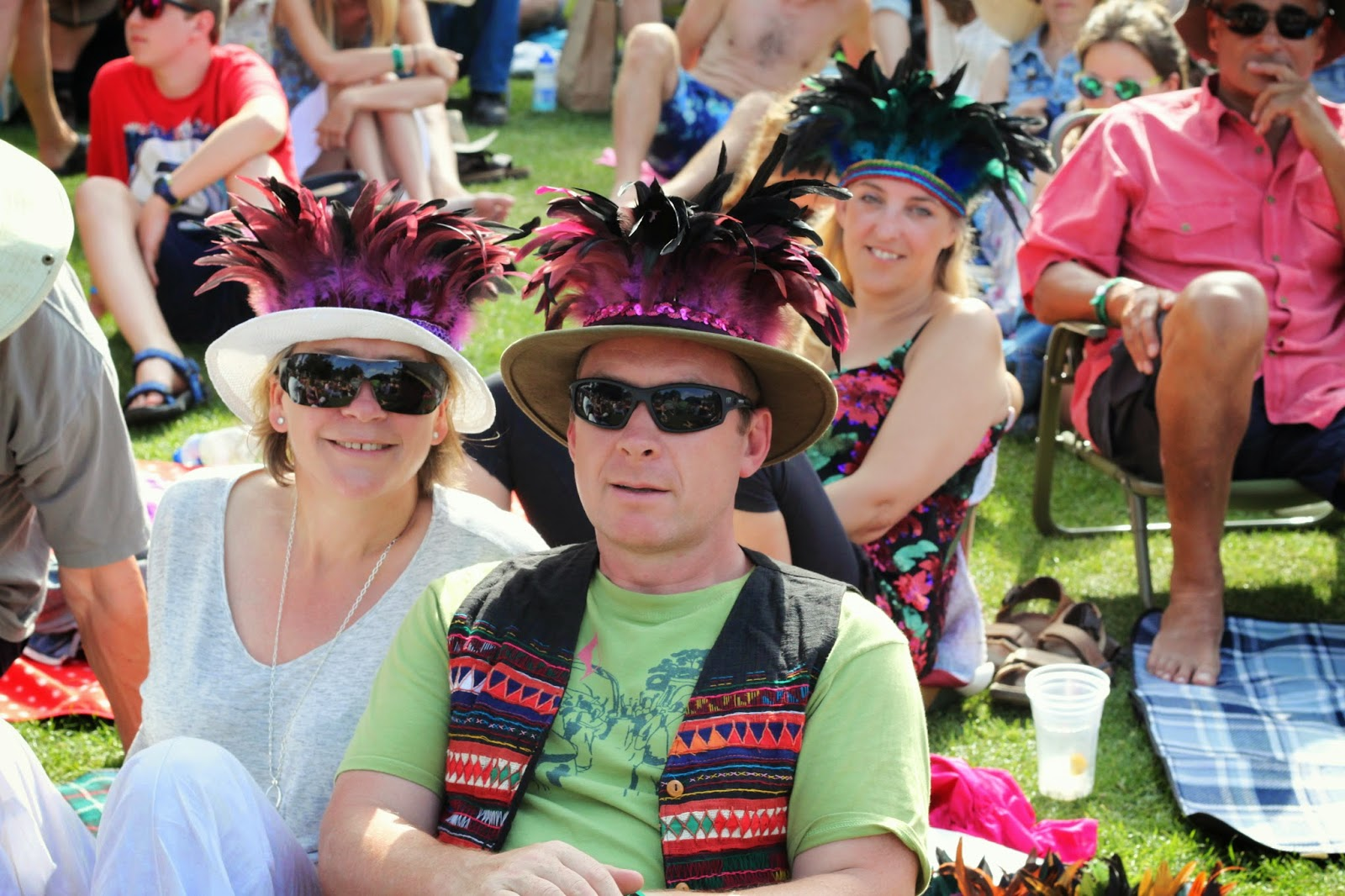 feather headdress, Larmer Tree, family, festival