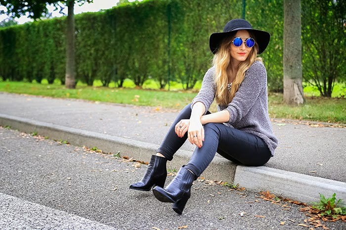 grey black outfit look