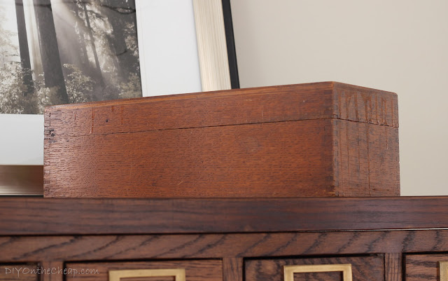 Antique library card catalog box