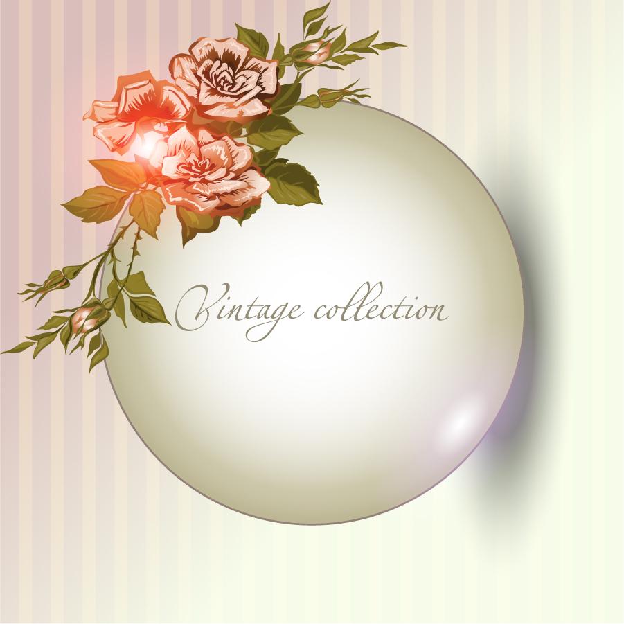 立体的な球体に花飾りの背景 beautiful flowers background イラスト素材