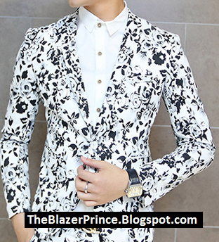 White Black Rose Floral Amazing Mens Blazer