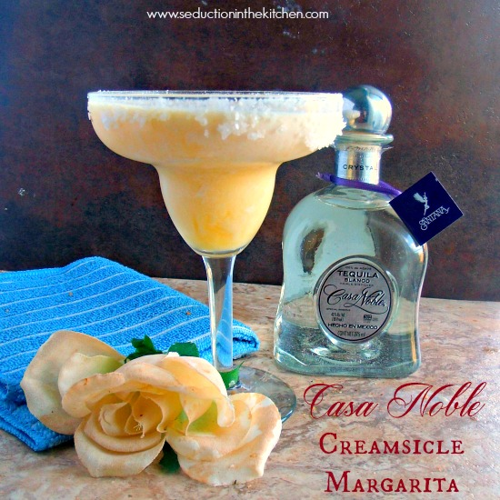 Casa Noble Creamsicle Margarita is a wonderful poolside drink for the hot summer sun. A recipe for #TequilaDay by Seduction in the Kitchen