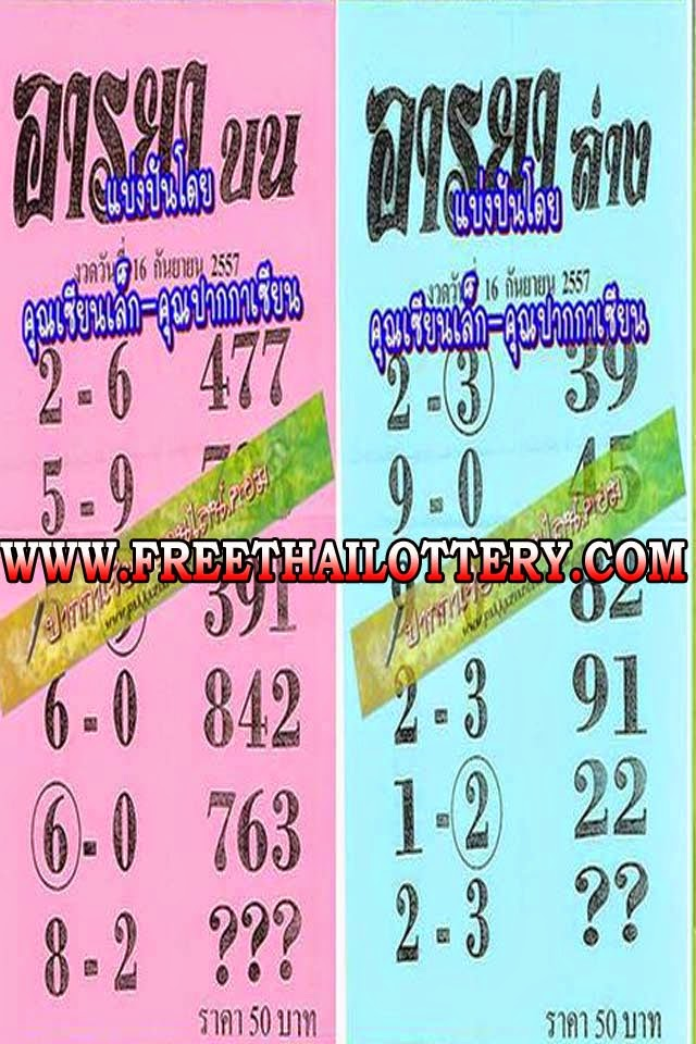 THAI LOTTERY 3UP AND DOWN TIP PAPER 16-09-2014