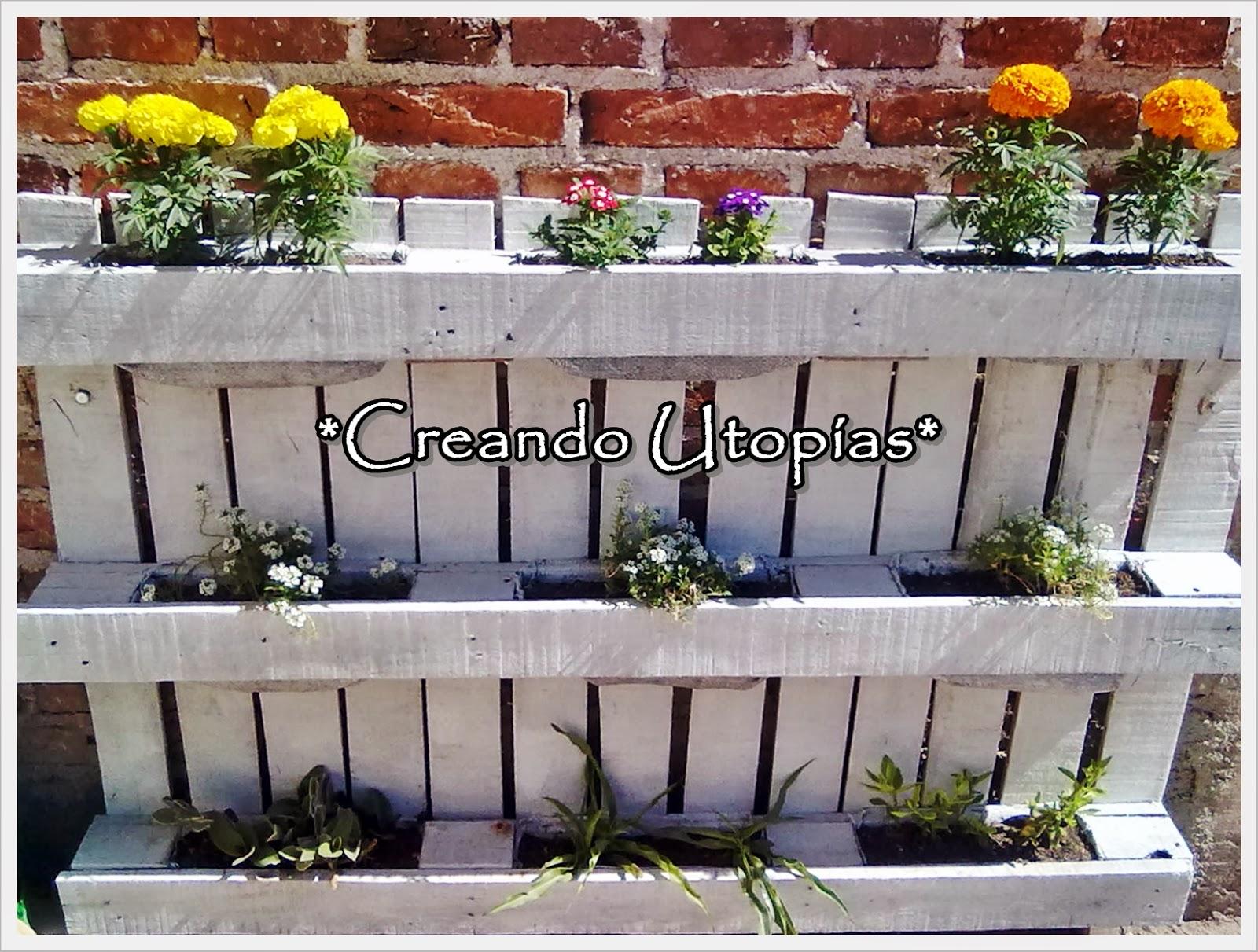 Creaciones mdo peque o jard n en un palet - Plantas para vallas ...