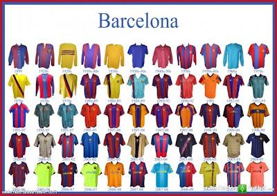 Las últimas 10 camisetas del Barcelona