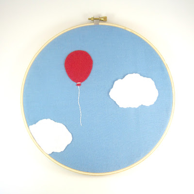 Red Balloon Embroidery Hoop