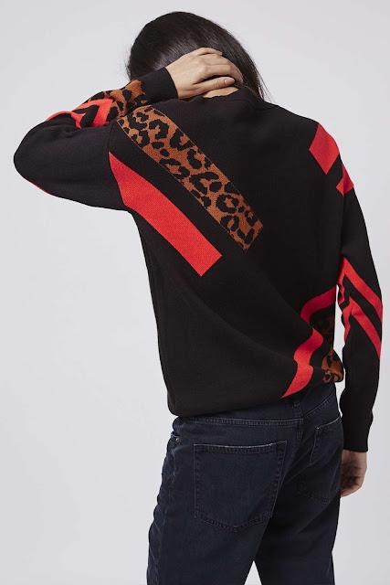 black leopard red jumper, leopard block jumper,