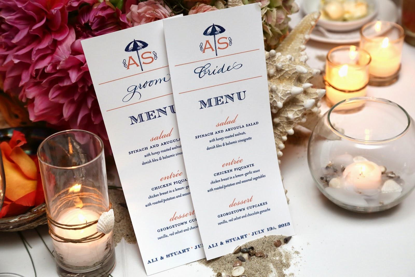 Wedding Reception Menu Cards ⋆ Nico and Lala