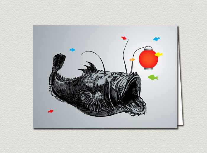 Angler Fish Holding a Paper Lantern With Fish Confetti