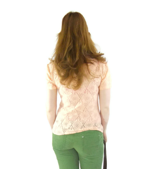 long hair style peach lace spring blouse