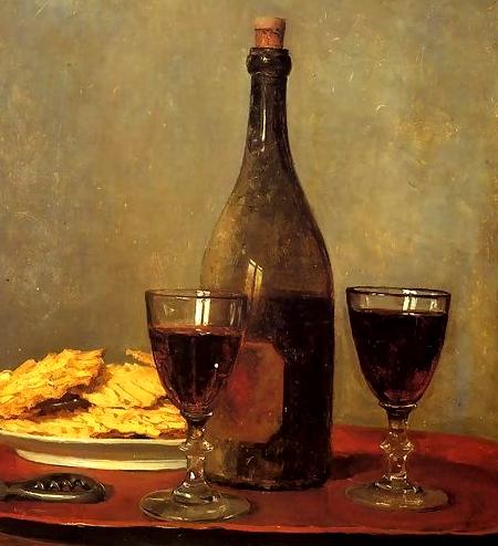 Martwa natura z butelką czerwonego wina