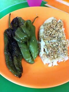 pesce persico in crosta di nocciole e zenzero con friggitelli