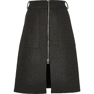 grey zip-up split front midi skirt from River Island