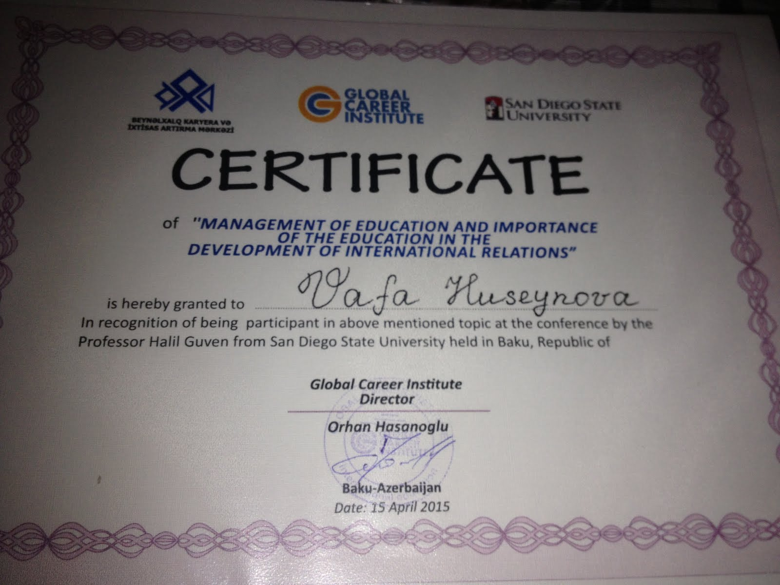 Beynəlxalq sertifikatım