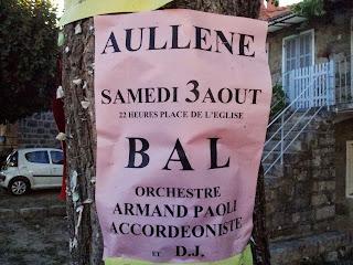 Aullène en Alta Rocca en Corse du sud : bal de la Saint Antioche avec Armand Paoli