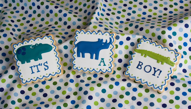 jungle animal baby boy cookies