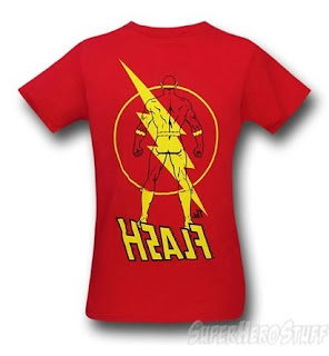 Back of new Flash t-shirt at SuperHeroStuff