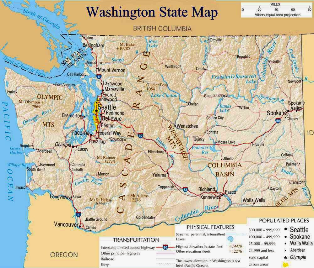 Gargantuan image within printable map of washington state