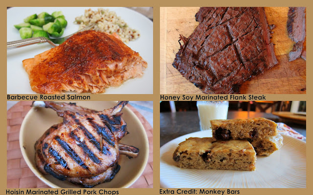 Marinated SAlmon, Flank Steak and Pork Chops