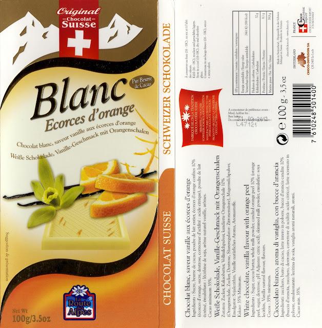 tablette de chocolat blanc gourmand orset la route des alpes blanc ecorces d'orange