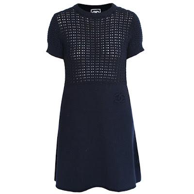 chanel sport open knit wool cashmere dress