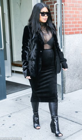 Pregnant Kim K steps out in see-through top (photos)  2C1515FB00000578-3226736-image-m-83_1441733587655
