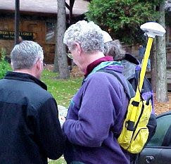 Trimble GPS unit in a backpack