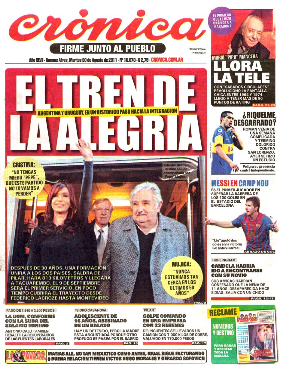 Tapa diarios cronica popular 30 08 11 report show for Diarios del espectaculo