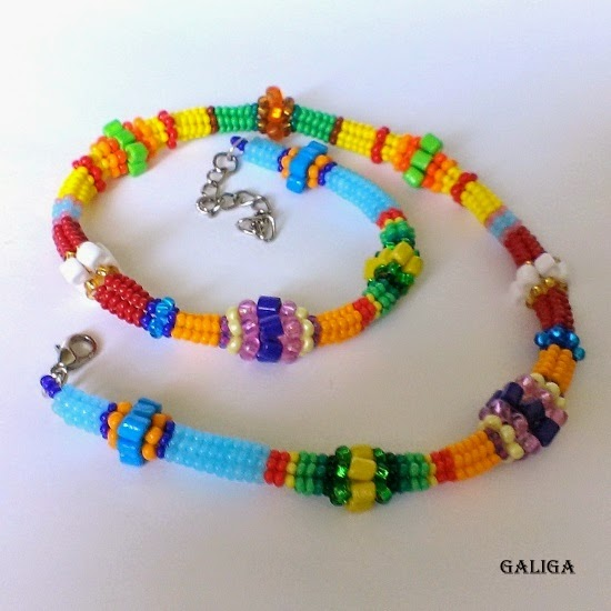 multicolor beaded necklace-colorful seed bead neclace-ethnic style beaded jewelry