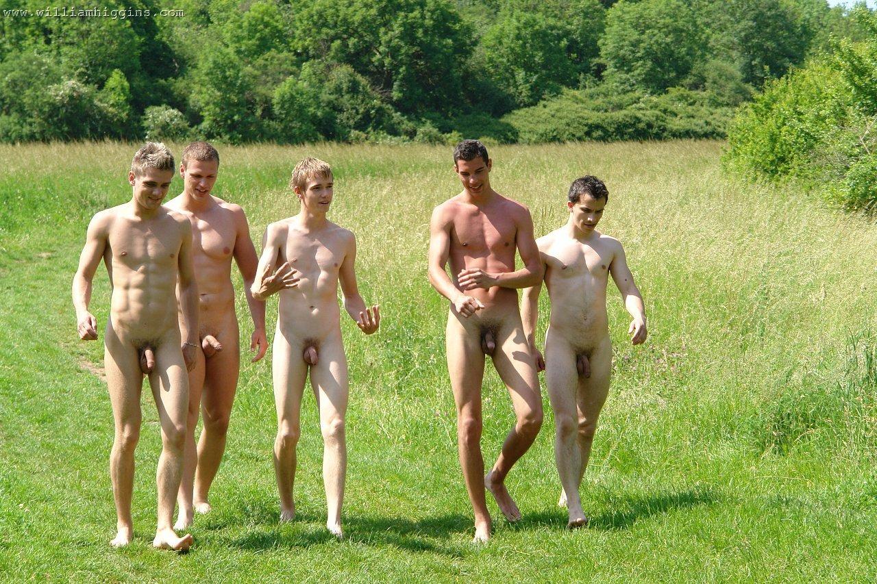 nude men walking