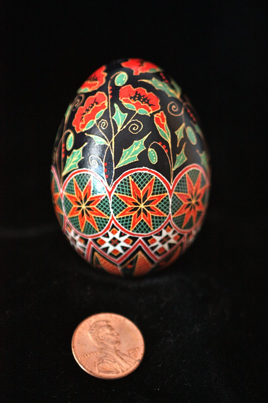 Scarlet Poppies Dancing on Traditional Red Stars Floral Pysanky