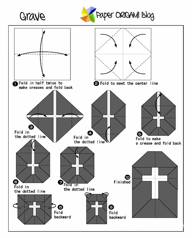 Halloween Origami: Grave   Paper Origami Guide