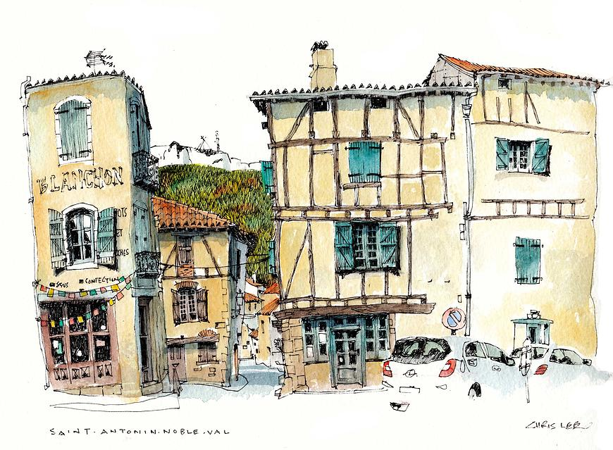 08-France-St-Antonin-Noble-Val-Chris-Lee-Charming-Architectural-wobbly-Drawings-and-Paintings-www-designstack-co