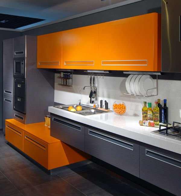 kitchen in our house  the colour of Hermes orange and the kitchens