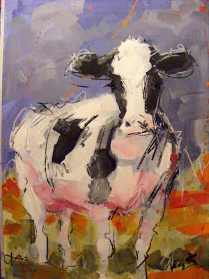 paint with acrylics, cow art painting 'Friese Holsteiner'