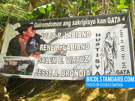 Streamer calling for justice in Barangay Gata, Caramoan, Camarines Sur