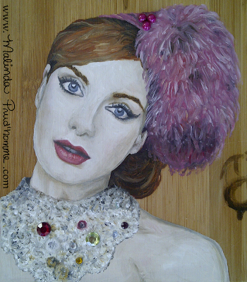 christina hendricks art, portrait painting, oil painting, beauty art, bamboo art, bamboo painting
