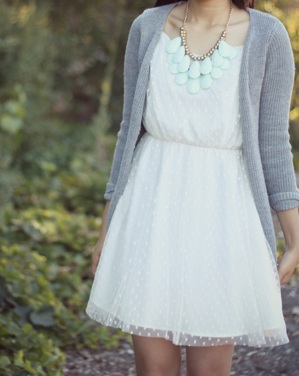little white dress+mint statement necklace