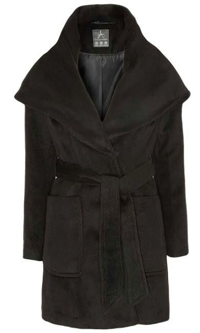 Abrigo en negro con cinturón atado para mujer de Primark