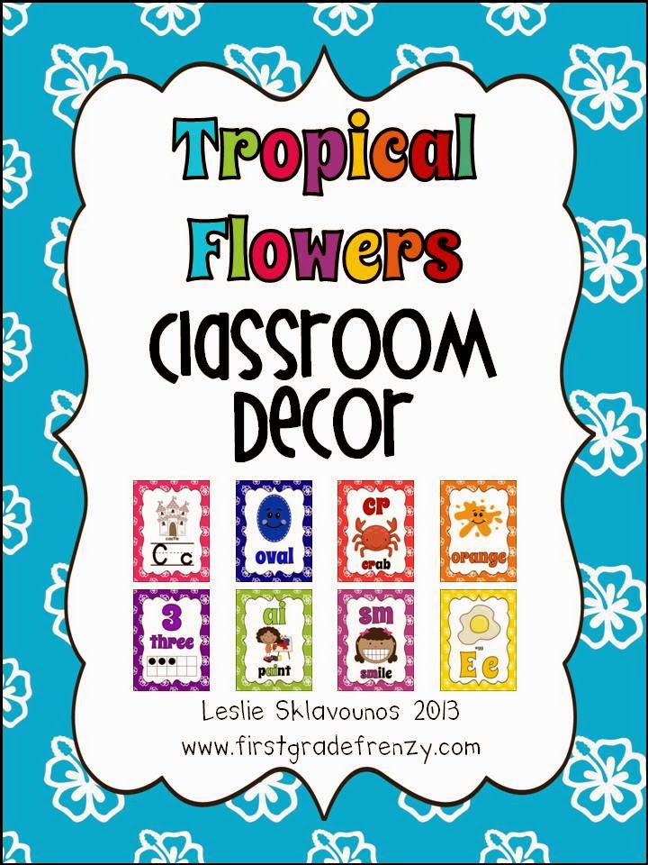 http://www.teacherspayteachers.com/Product/Tropical-Flower-Classroom-Decor-Poster-Set-761437